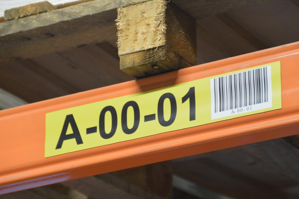 etykiety regałowe, oznakowanie regałów, oznakowanie półek, dla magazynów, do magazynów,