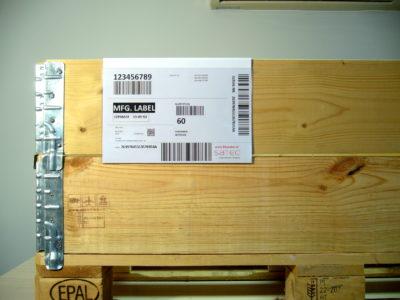 zawieszka magazynowa na etykiety na nadstawki paletowe - kieszenie na dokumenty i etykiety