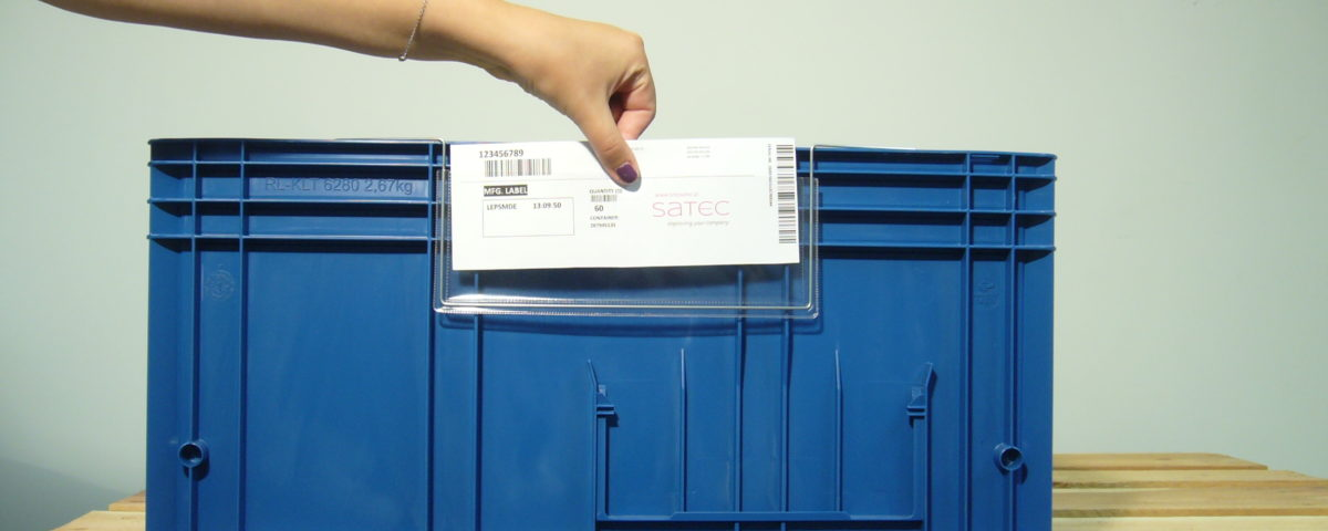 zawieszka magazynowa na etykiety z drutem na pojemniki KLT