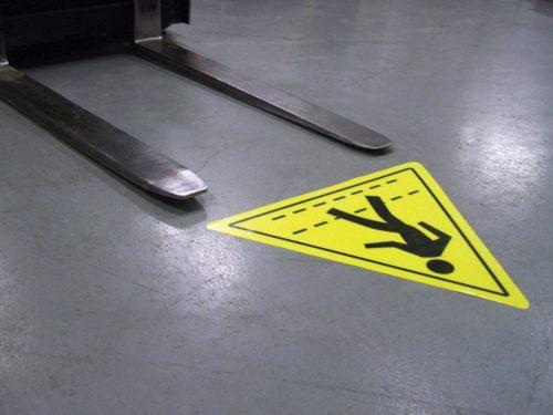 znaki podłogowe, znaki bhp podłogowe