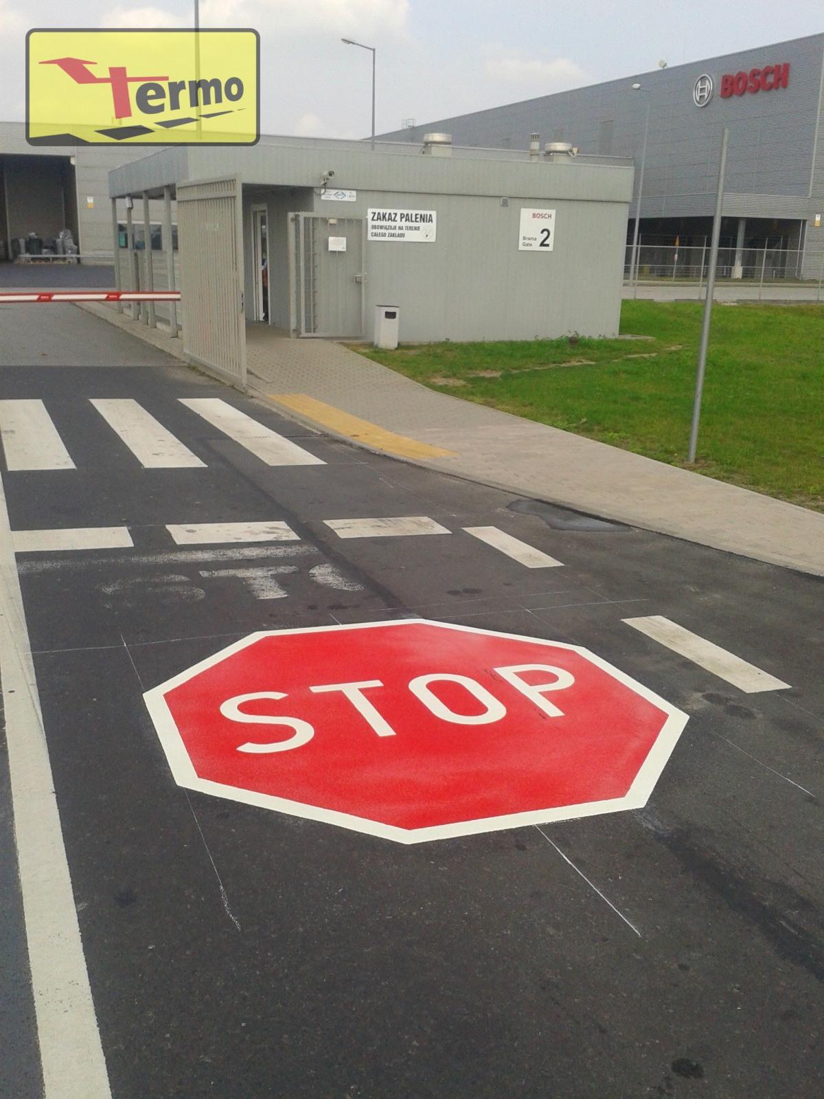 oznakowanie poziome - znak stop z masy termoplastycznej