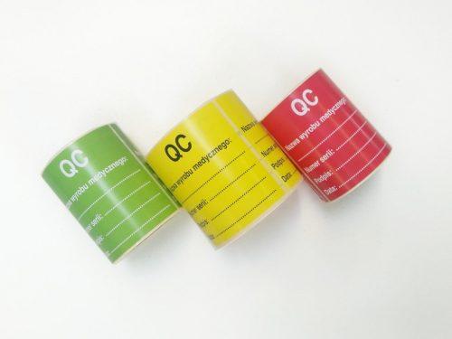 naklejki kontroli jakości, naklejki qc, etykiety kontroli jakości