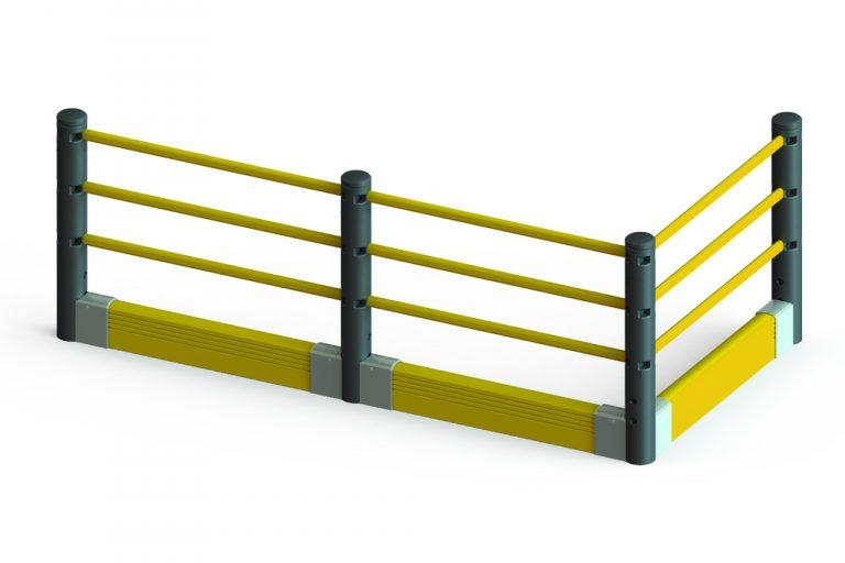 dolne bariery zabezpieczają przed widłami wózka