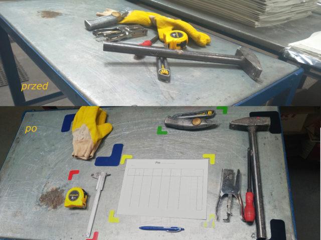 znaczniki 5S stołowe, znaczniki stołowe 5S, oznakowanie stanowiska pracy, strefy na stole roboczym, znaczniki do stołu roboczego