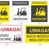 uwaga wózki znak, znak wózki widłowe, parking wózków znak, tabliczka wózki widłowe