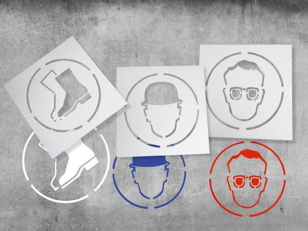 szablony znaków bhp, szablony do malowania znaków bhp, szablony malarskie piktogramów