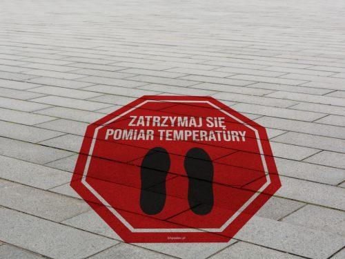naklejka na asfalt, znak na kostkę brukową, znak koronawirus na kostkę